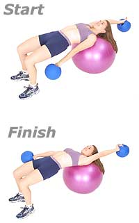 Alternating Arm Swings on Swiss Exercise Ball with TheraGear� Power Weight Ball