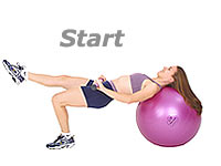 One Leg Bridge Glute Drop Supine on Swiss Exercise Ball with TheraGear® Body Toning Bar 1