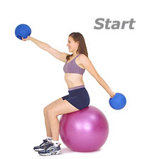 Advanced Seated Alternating Arm Circles on Swiss Exercise Ball with TheraGear� Power Weight Ball
