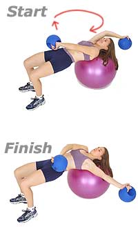 Alternating Sword Pull on Swiss Exercise Ball with TheraGear� Power Weight Ball