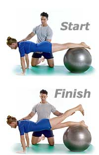 Leg Front Pull with Swiss Exercise Ball reverse