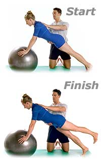 Leg Front Pull with Swiss Exercise Ball