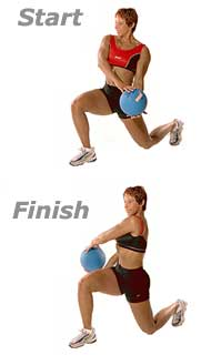 Lunge Cross-Overs with Medicine Ball  1