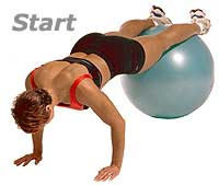 Prone Knee Pull-Ins on Swiss Exercise Ball  1