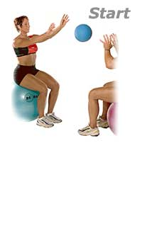 Seated Medicine Ball Toss With Partner And Swiss Exercise Ball