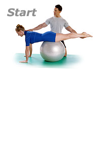 Single Leg Kick with Swiss Exercise Ball