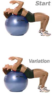 Supine Abdominal Stretch with Swiss Exercise Ball  1