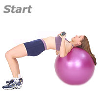 Supine Chest Press with Swiss Exercise Ball and TheraGear® Body Toning Bar 1