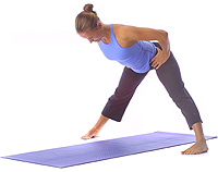 yoga beginner standing wide leg stretch