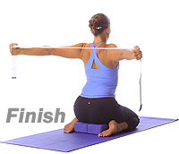 yoga hero shoulder opener with blocks and straps