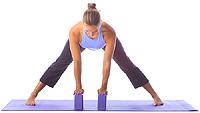 yoga intermediate standing wide leg forward fold with blocks