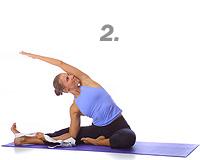 yoga seated single leg side bend