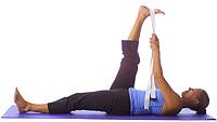 yoga supine one leg hamstring stretch with strap