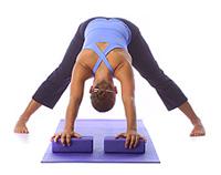 yoga wide leg down dog with blocks